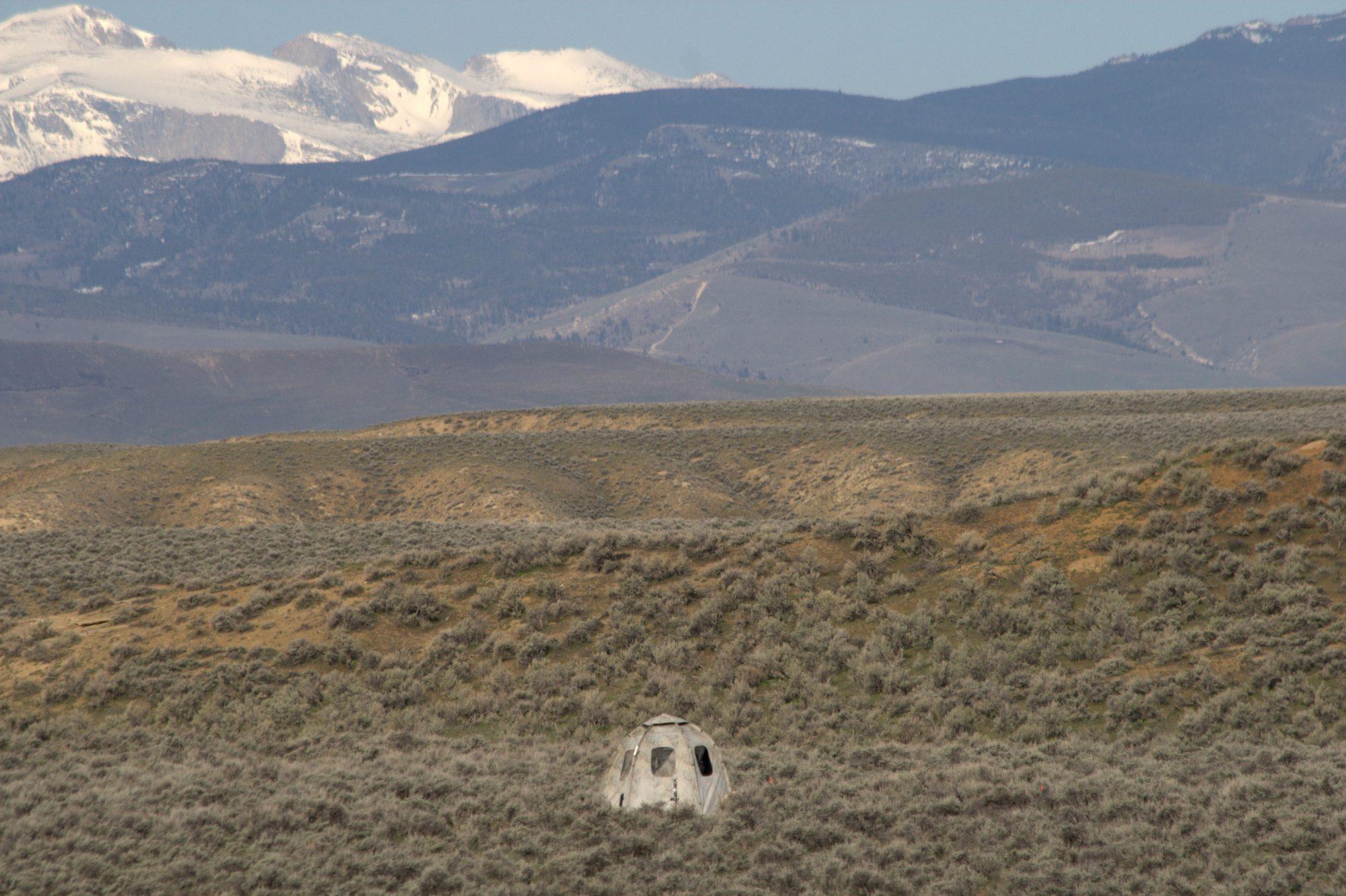 Observation blind overlooking Cottontail Lek
