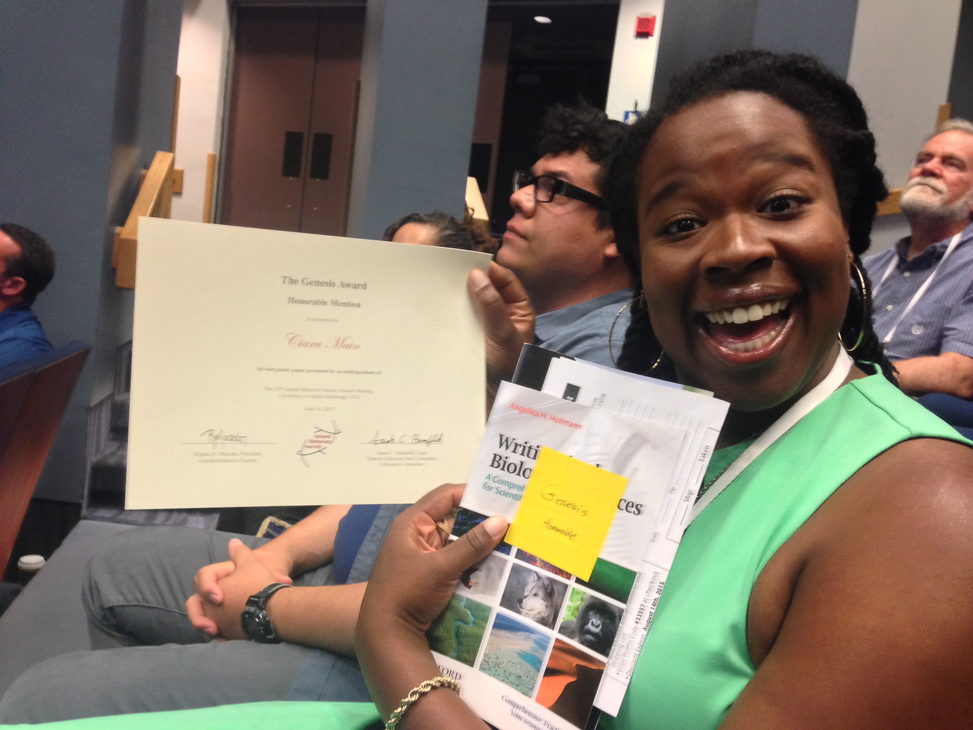 Ciara Main and her honorable mention for the Genesis Award at ABS