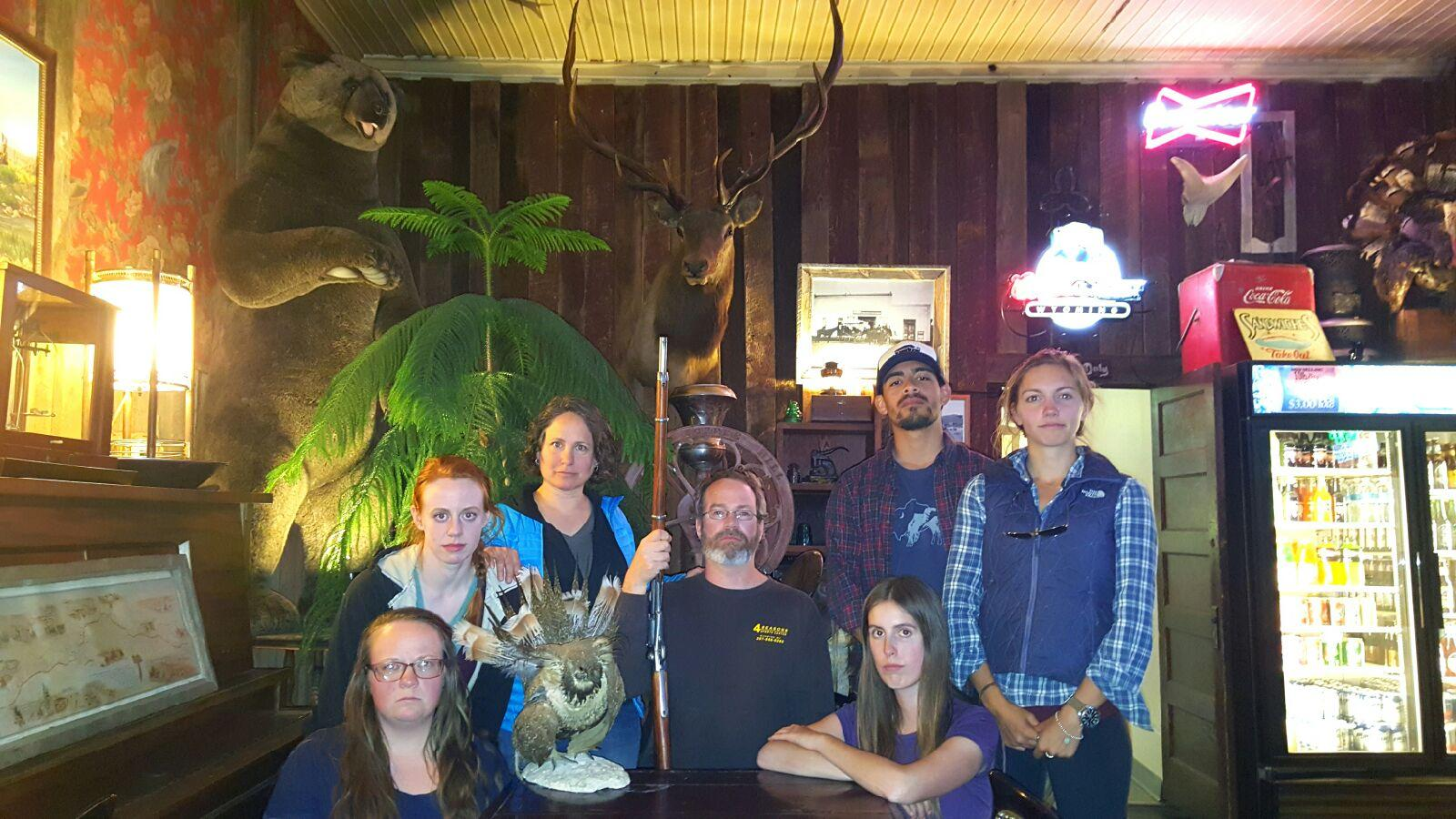Chicken Camp crew with the world's worst taxidermy sage-grouse, Atlantic City Merchantile 2016