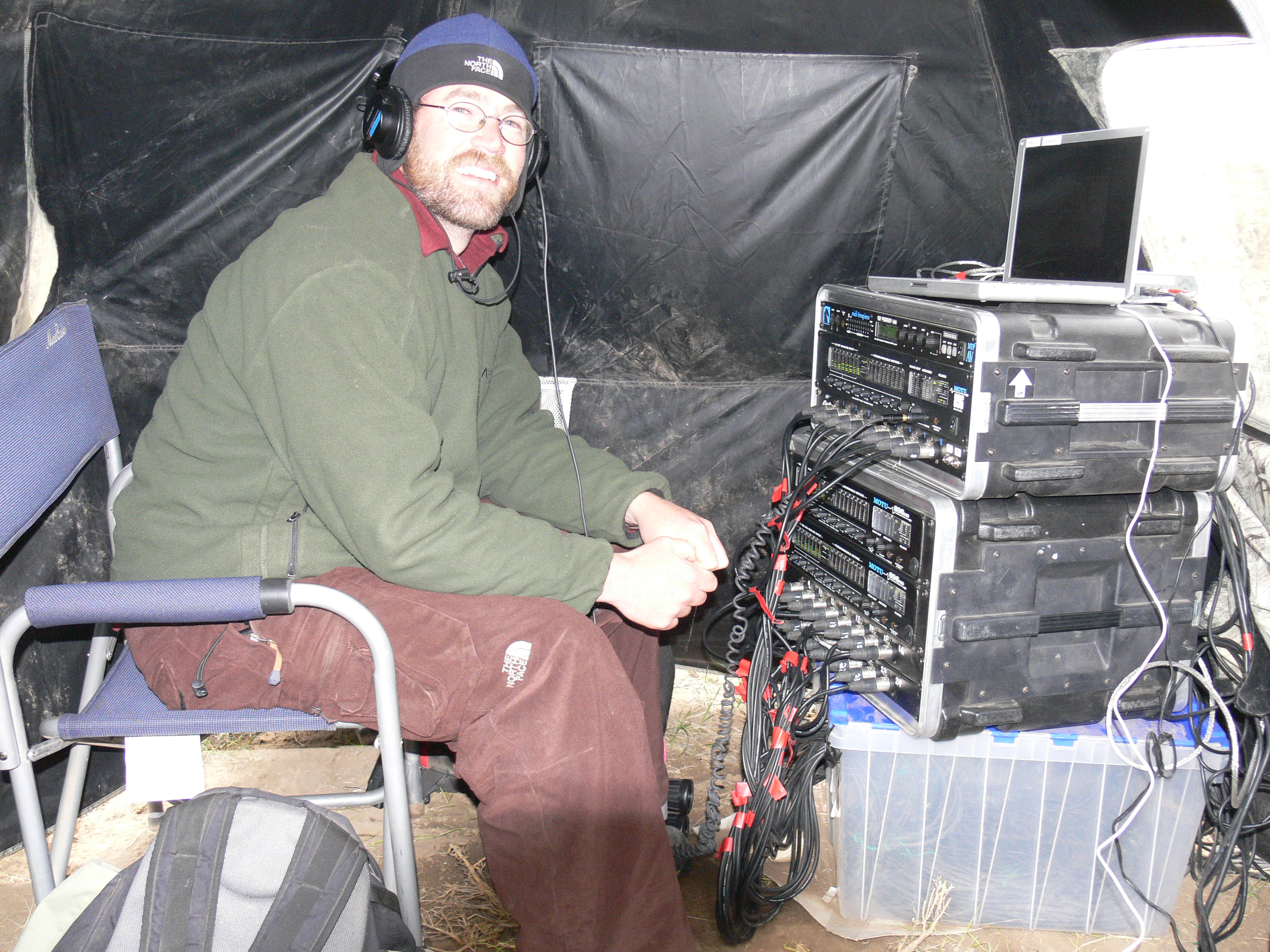 Alan manning the microphone array, 2007
